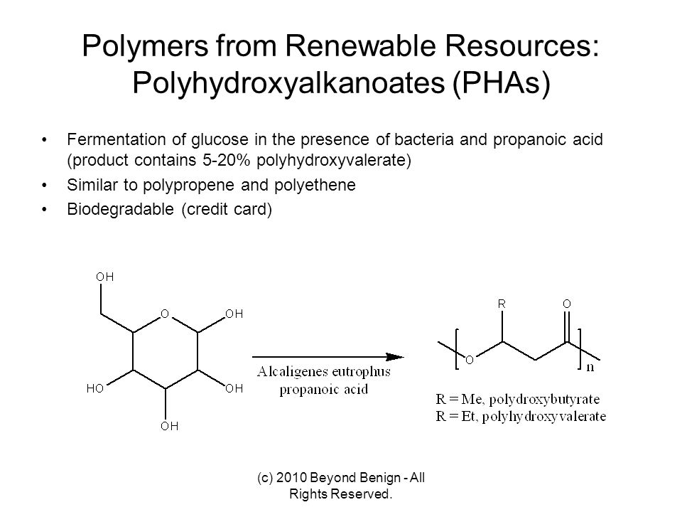 Polymers from Renewable Resources: Polyhydroxyalkanoates (PHAs)