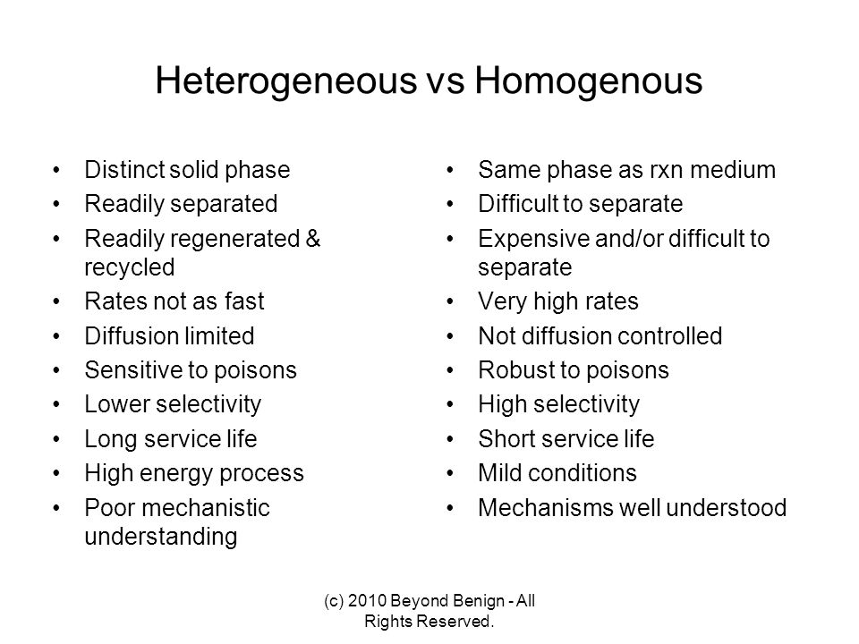 Heterogeneous vs Homogenous