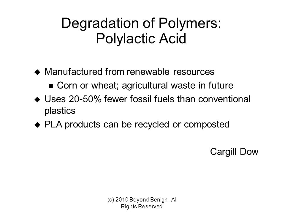 Degradation of Polymers: Polylactic Acid