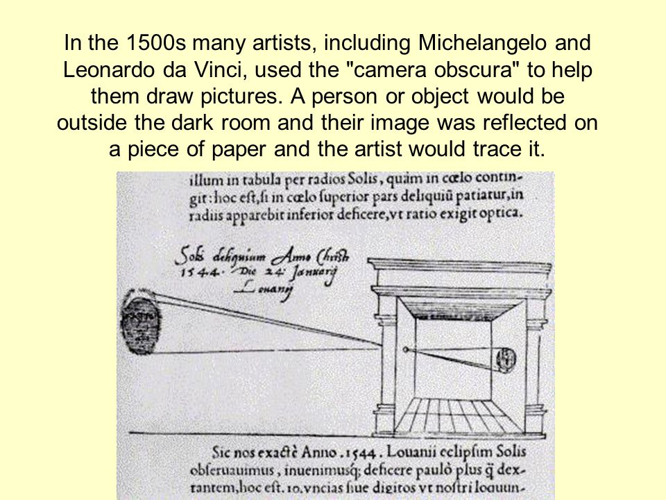 In the 1500s many artists, including Michelangelo and Leonardo da Vinci, used the camera obscura to help them draw pictures.