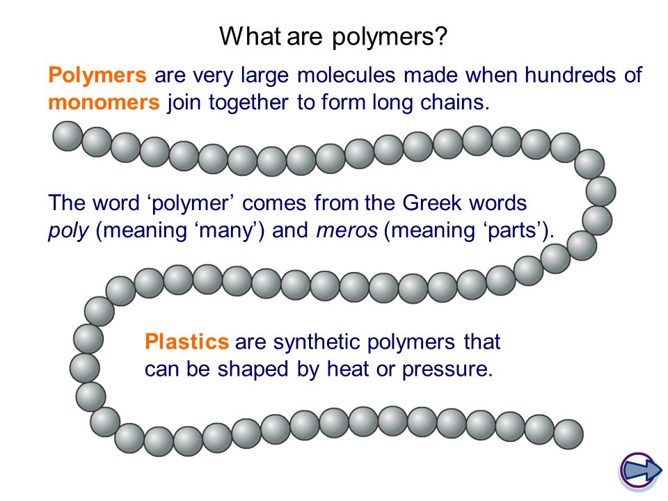What are polymers Polymers are very large molecules made when hundreds of monomers join together to form long chains.