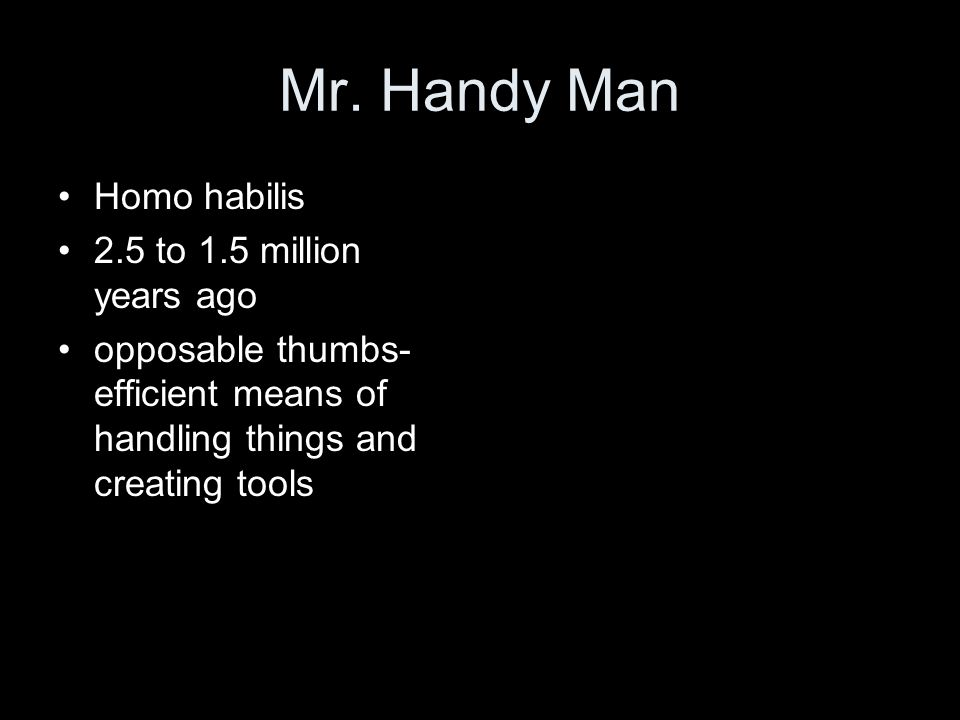 Mr. Handy Man Homo habilis 2.5 to 1.5 million years ago