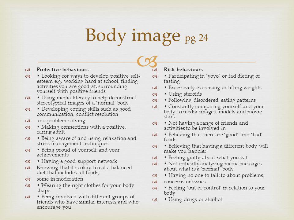 Body image pg 24 Protective behaviours