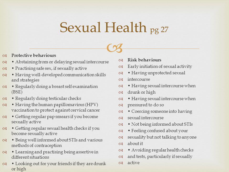 Sexual Health pg 27 Protective behaviours