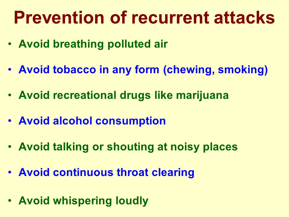 Prevention of recurrent attacks