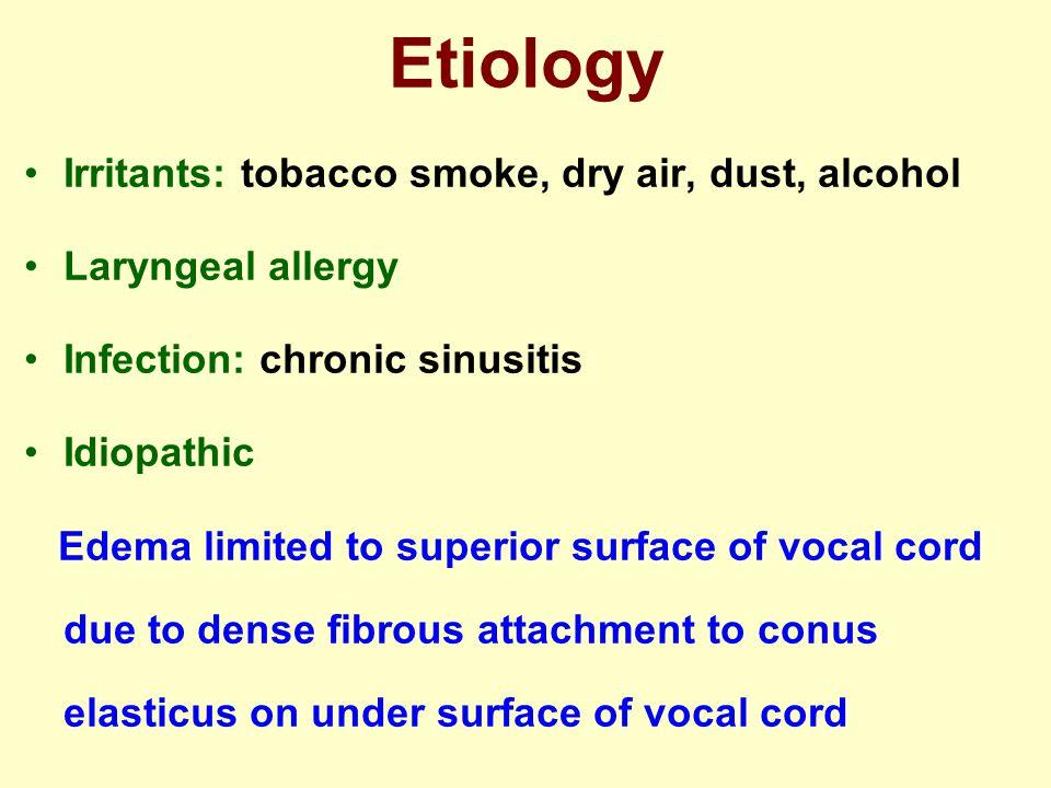 Etiology Irritants: tobacco smoke, dry air, dust, alcohol