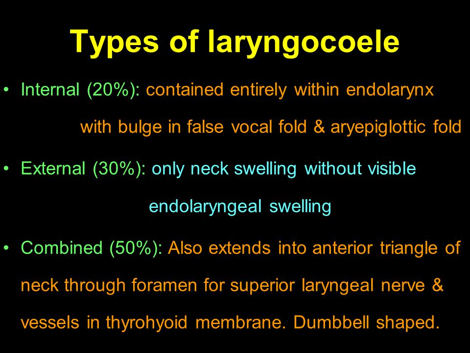 Types of laryngocoele Internal (20%): contained entirely within endolarynx with bulge in false vocal fold & aryepiglottic fold.