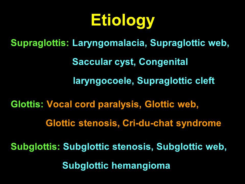 Etiology Supraglottis: Laryngomalacia, Supraglottic web, Saccular cyst, Congenital laryngocoele, Supraglottic cleft.