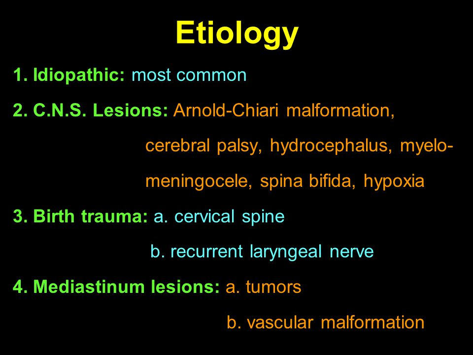 Etiology 1. Idiopathic: most common