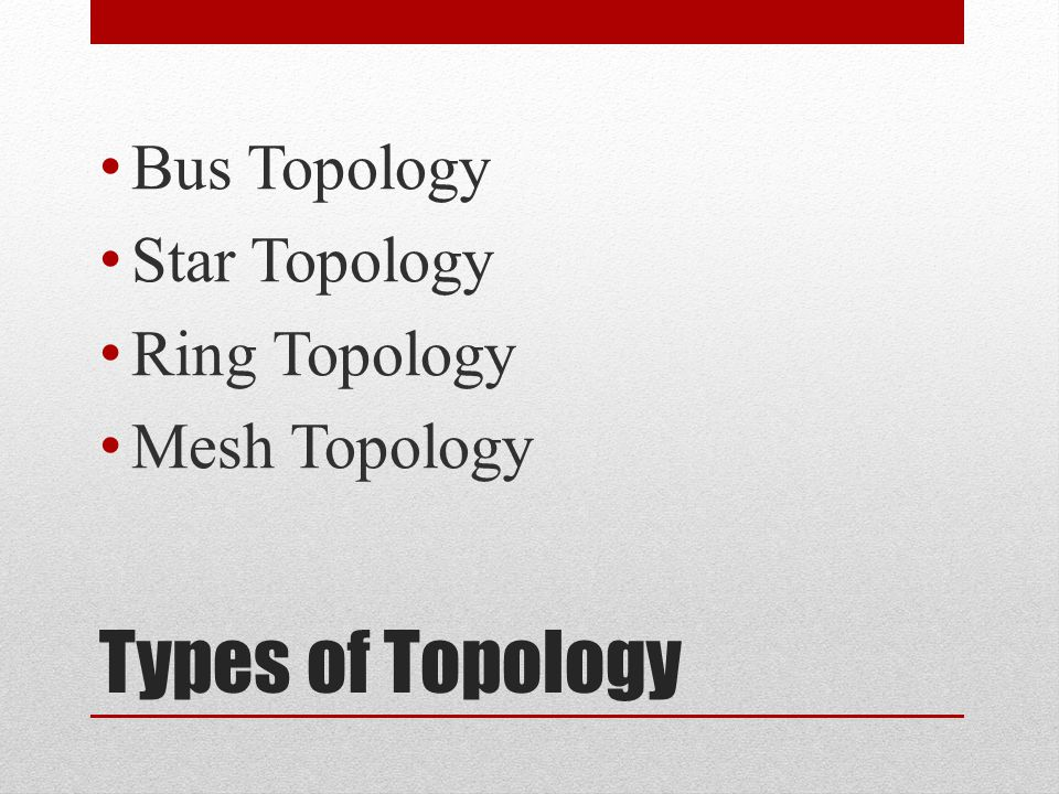 Types of Topology Bus Topology Star Topology Ring Topology