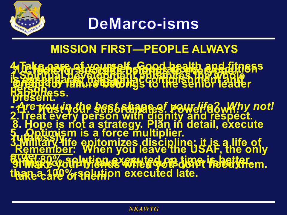 MISSION FIRST—PEOPLE ALWAYS
