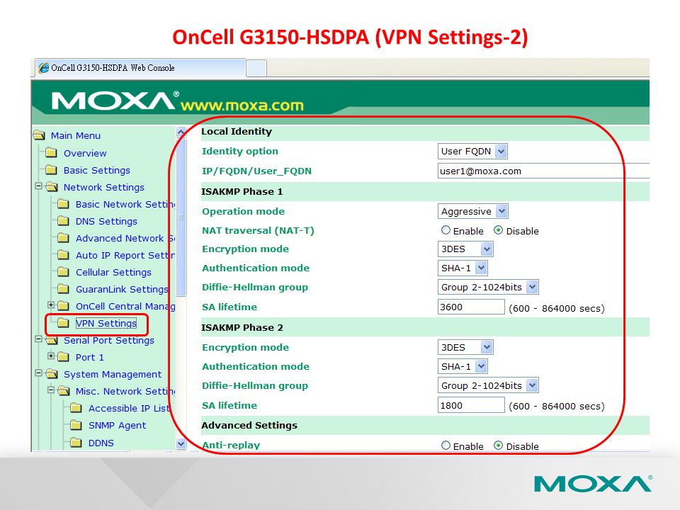 OnCell G3150-HSDPA (VPN Settings-2)