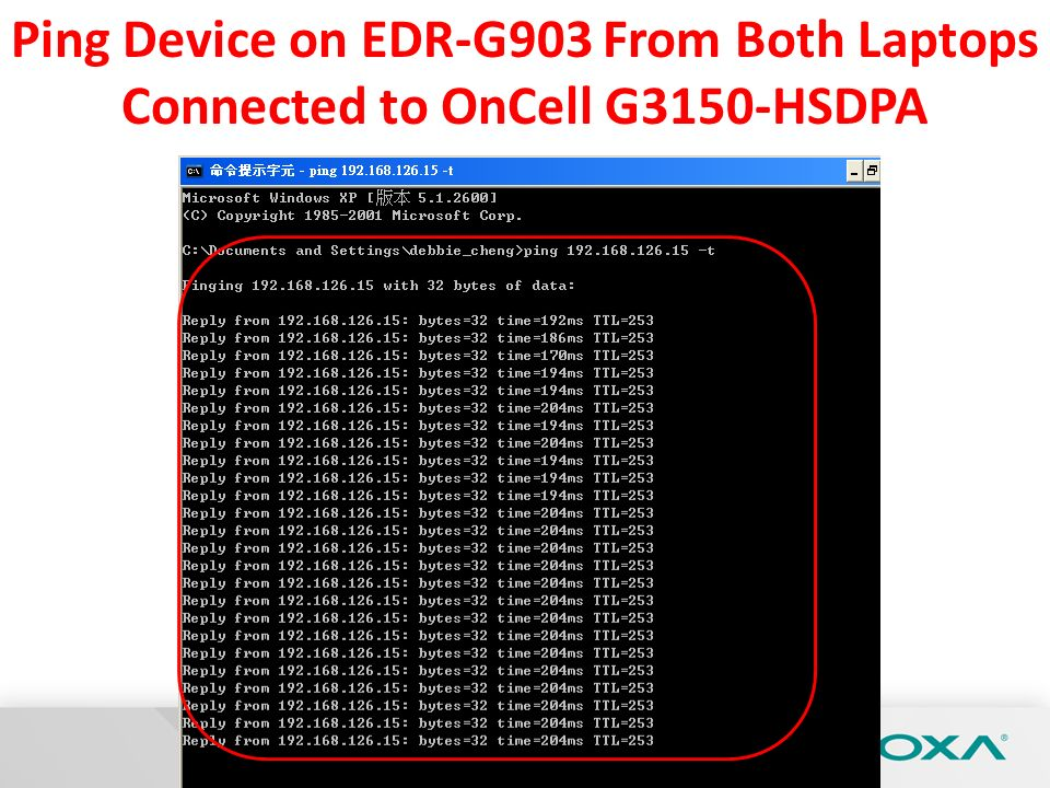 Ping Device on EDR-G903 From Both Laptops Connected to OnCell G3150-HSDPA