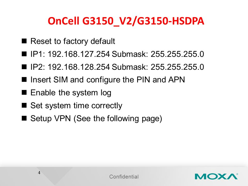 OnCell G3150_V2/G3150-HSDPA Reset to factory default
