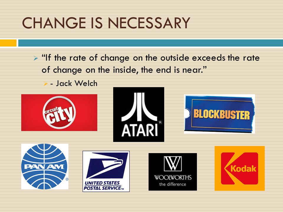 CHANGE IS NECESSARY If the rate of change on the outside exceeds the rate of change on the inside, the end is near.