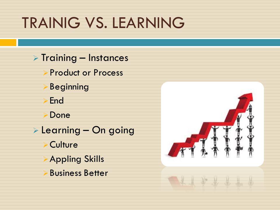 TRAINIG VS. LEARNING Training – Instances Learning – On going