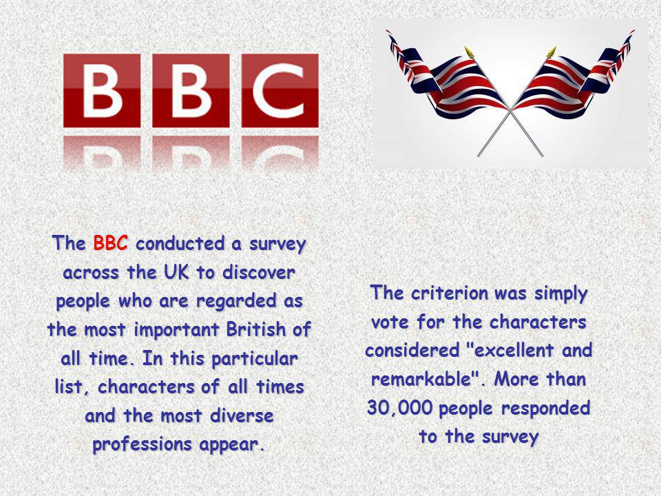 The BBC conducted a survey across the UK to discover people who are regarded as the most important British of all time. In this particular list, characters of all times and the most diverse professions appear.