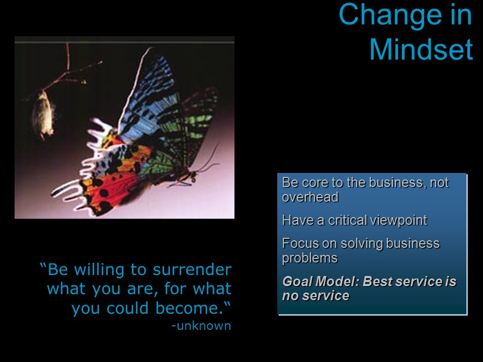 Change in Mindset Be core to the business, not overhead. Have a critical viewpoint. Focus on solving business problems.