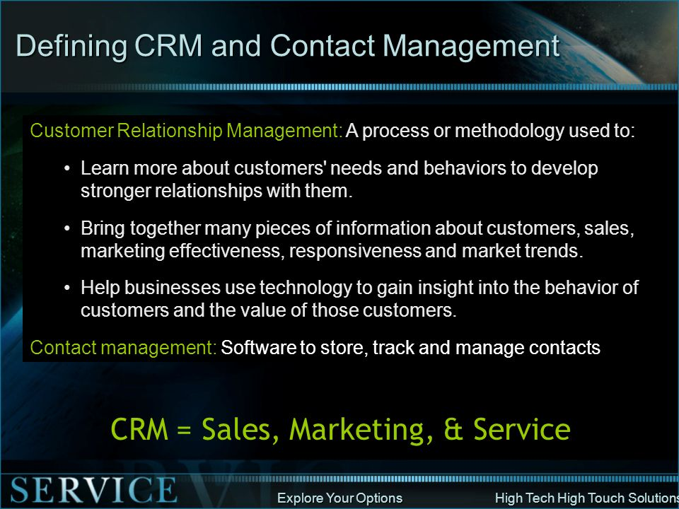 Defining CRM and Contact Management