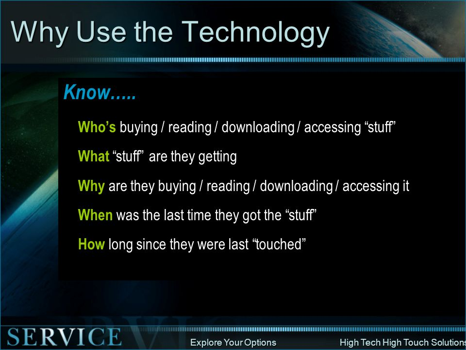 Why Use the Technology Know…..