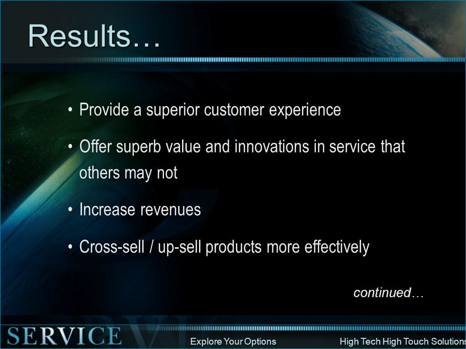 Results… Provide a superior customer experience