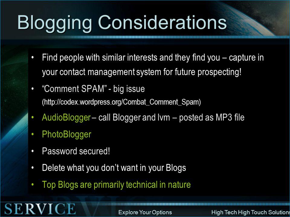 Blogging Considerations