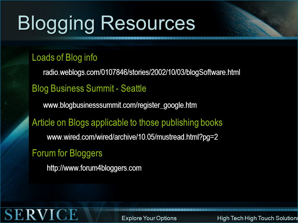 Blogging Resources Loads of Blog info Blog Business Summit - Seattle