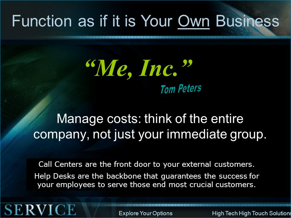 Me, Inc. Function as if it is Your Own Business