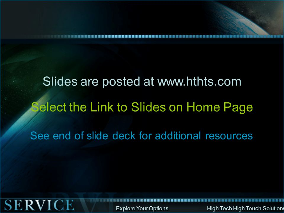 Slides are posted at www.hthts.com