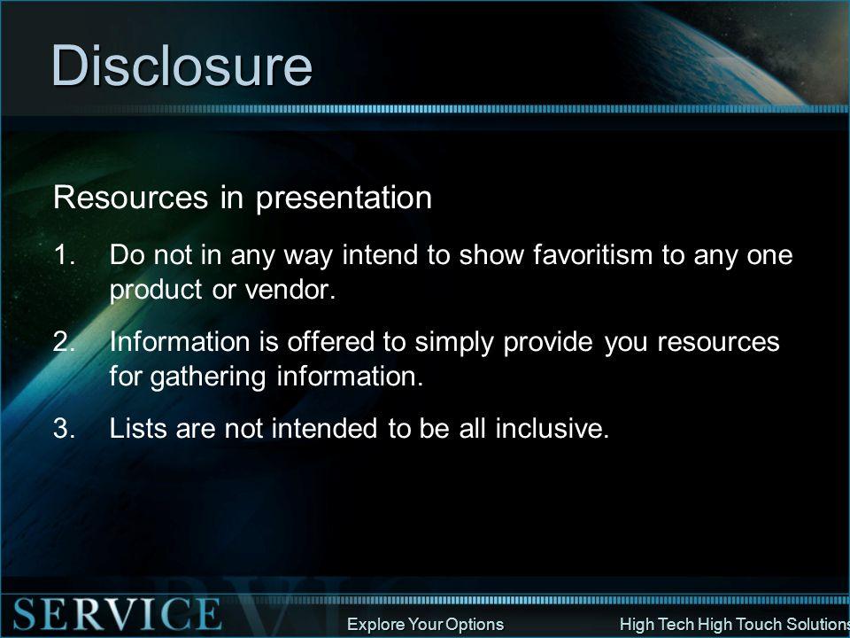 Disclosure Resources in presentation