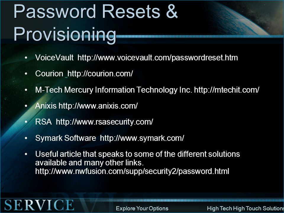 Password Resets & Provisioning