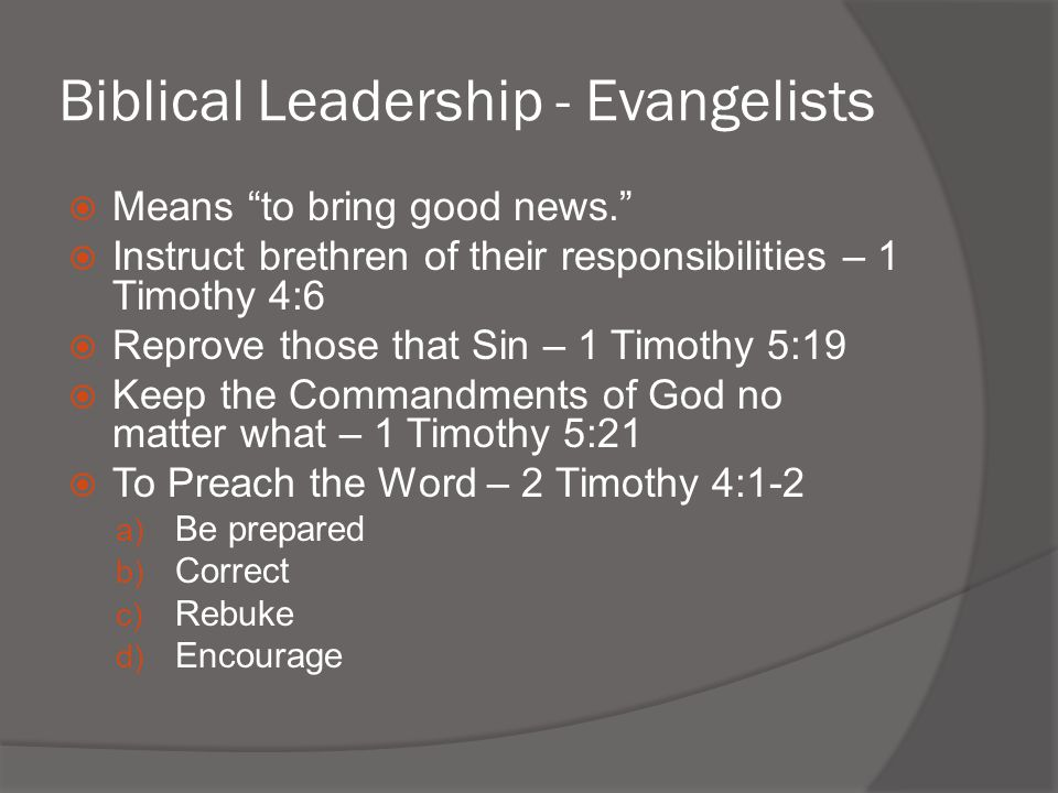 Biblical Leadership - Evangelists
