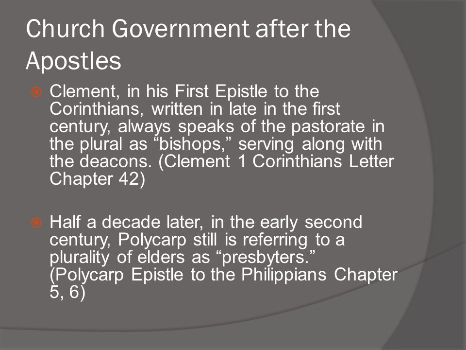Church Government after the Apostles