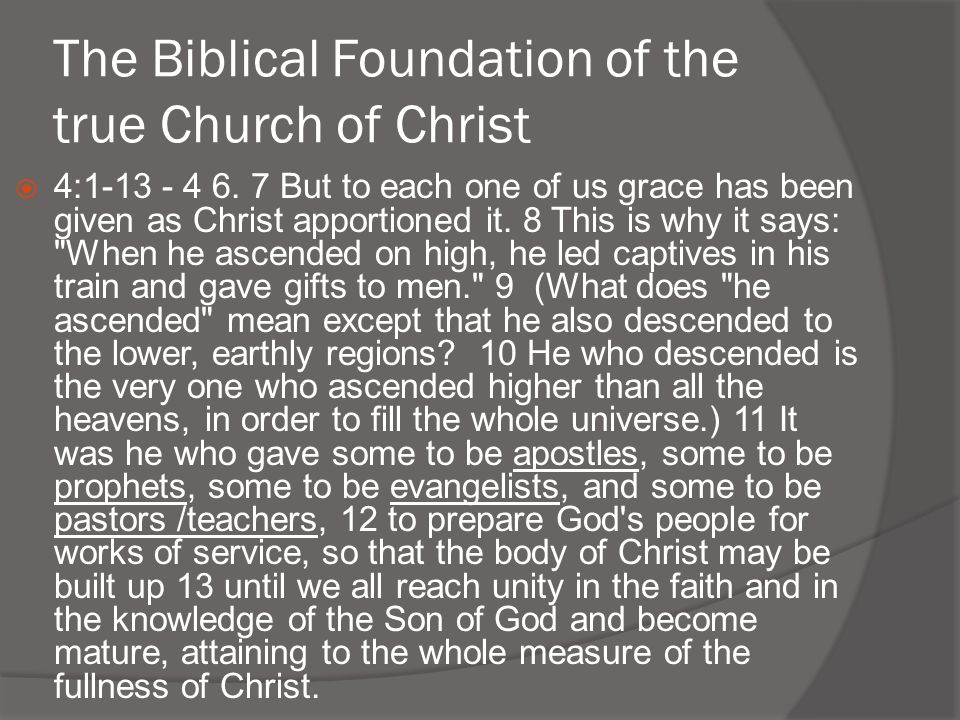 The Biblical Foundation of the true Church of Christ