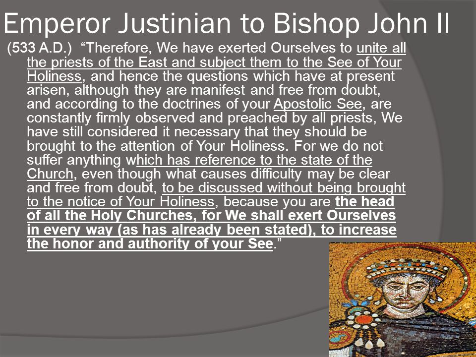 Emperor Justinian to Bishop John II