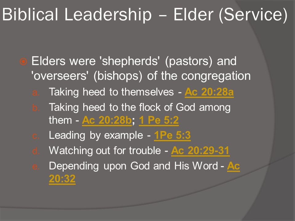 Biblical Leadership – Elder (Service)