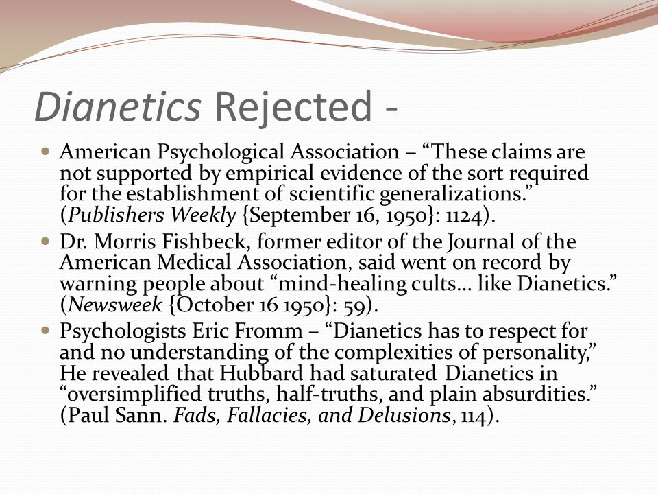 Dianetics Rejected -