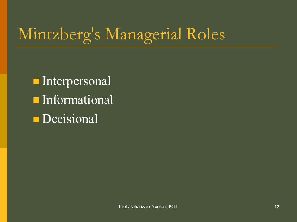 Mintzberg s Managerial Roles