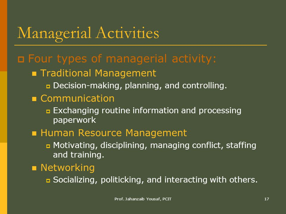 Managerial Activities