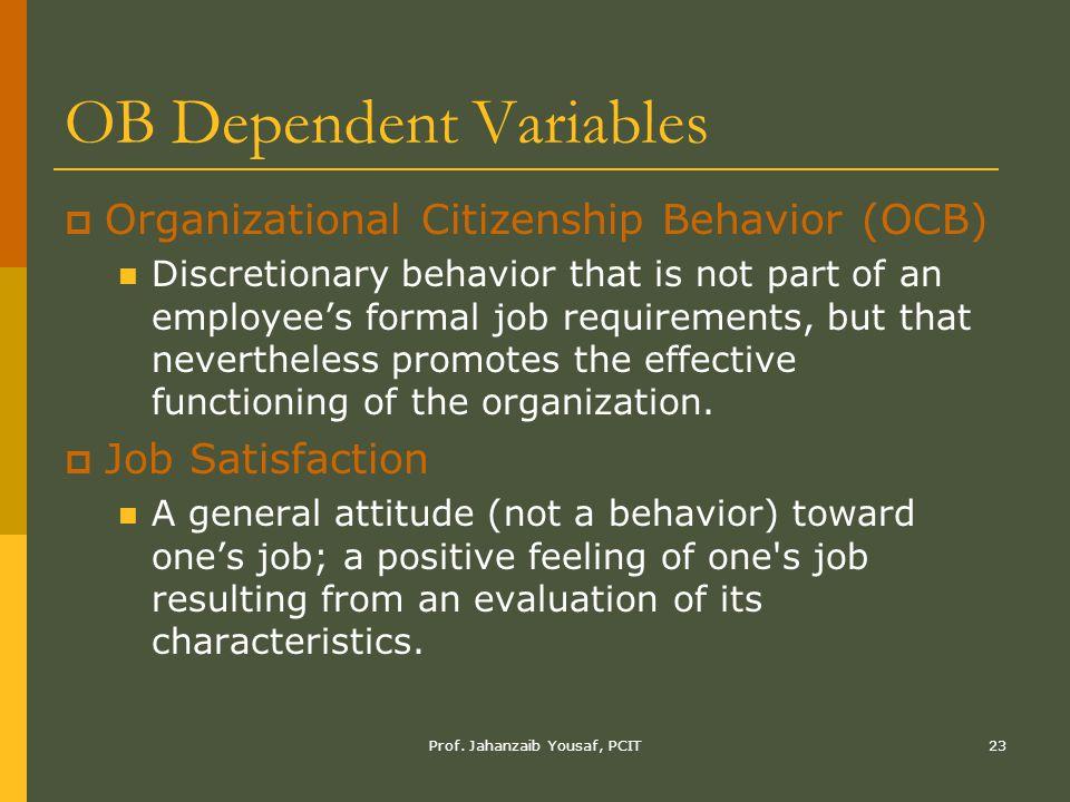 OB Dependent Variables