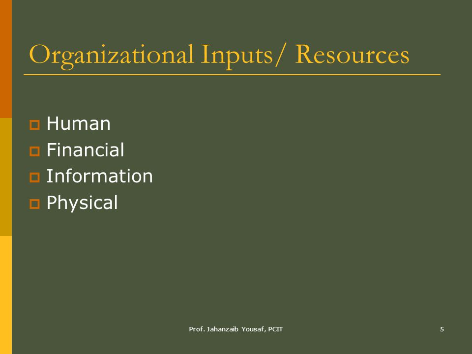 Organizational Inputs/ Resources