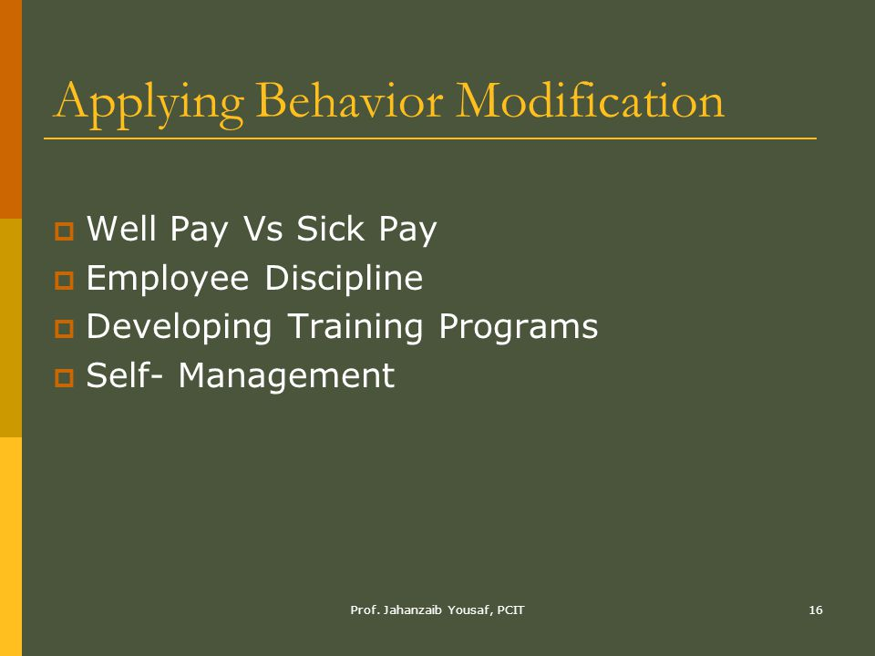 Applying Behavior Modification
