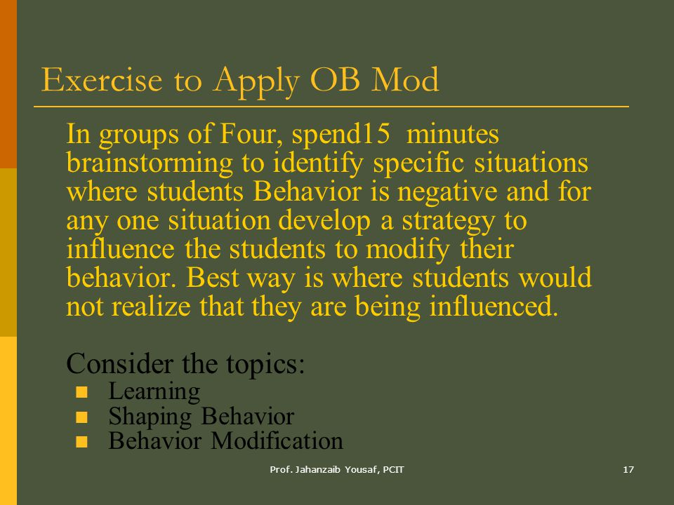 Exercise to Apply OB Mod