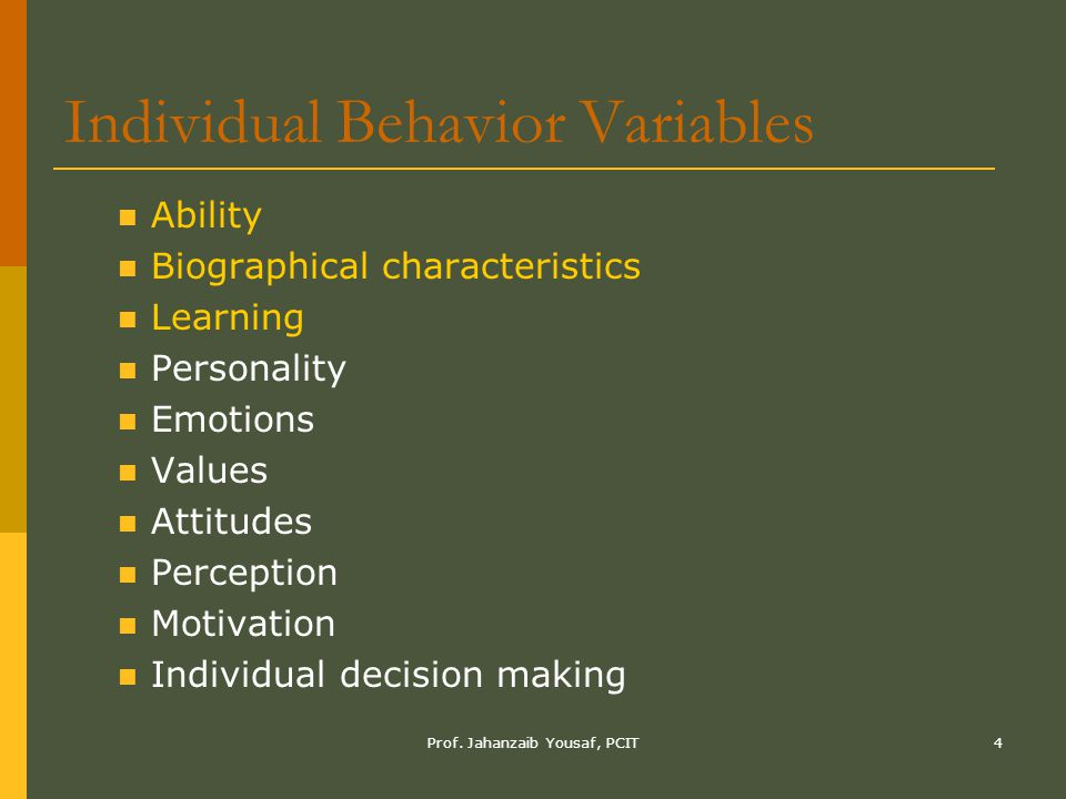 Individual Behavior Variables