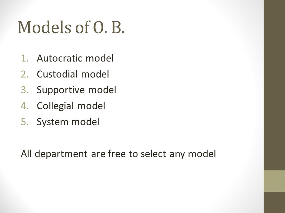 collegial model Collegial models assume that organizations determine policies and make  decisions  -the collegial model deals with this problem of scale by building-in  the.