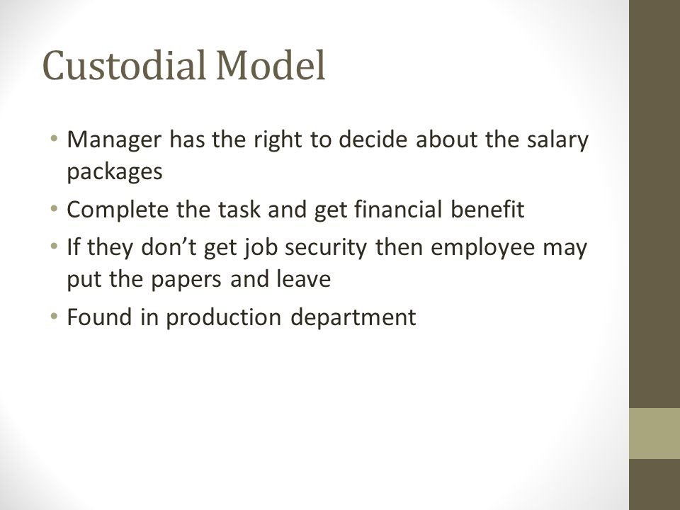 Custodial Model Manager has the right to decide about the salary packages. Complete the task and get financial benefit.
