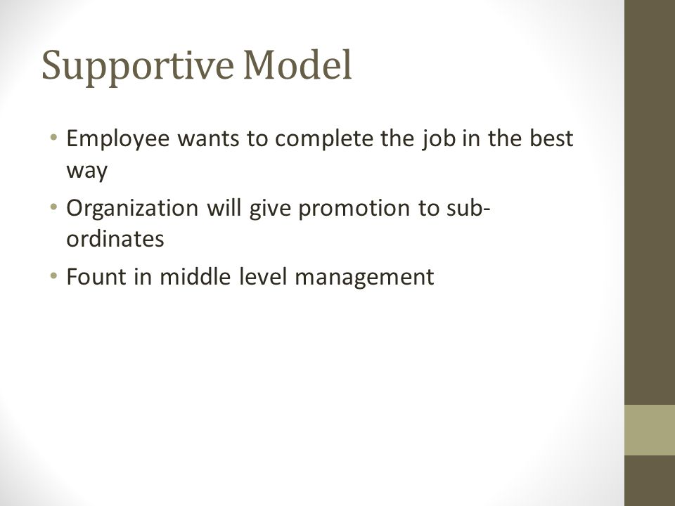 Supportive Model Employee wants to complete the job in the best way