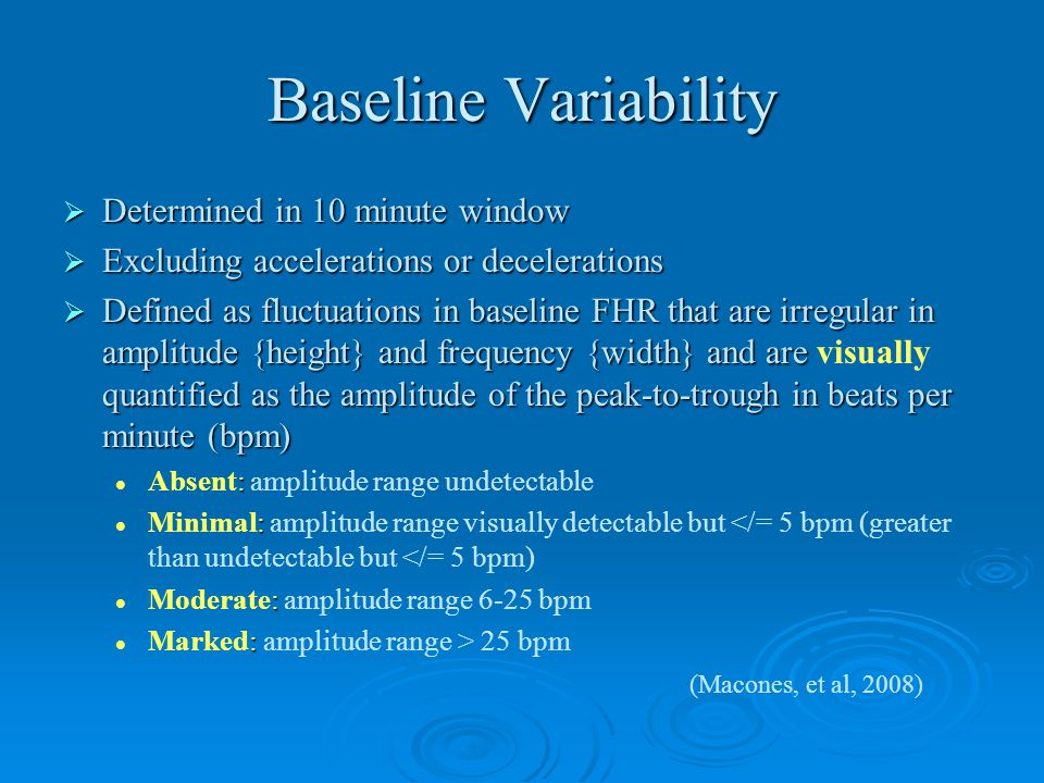 Baseline Variability Determined in 10 minute window