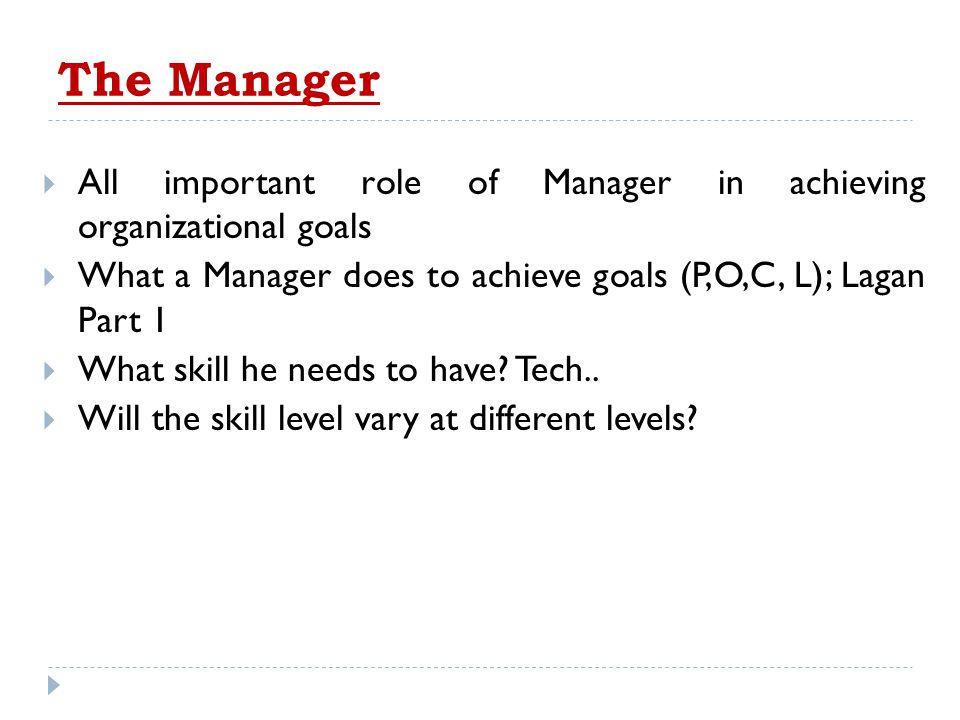 The Manager All important role of Manager in achieving organizational goals. What a Manager does to achieve goals (P,O,C, L); Lagan Part 1.