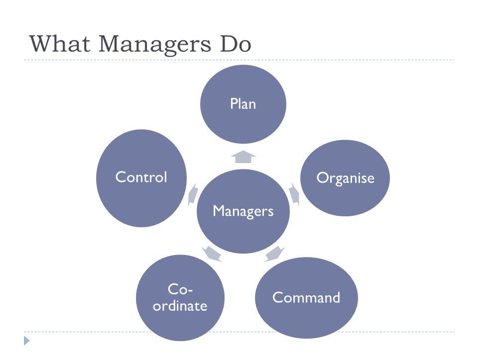 What Managers Do Managers Plan Organise Command Co-ordinate Control